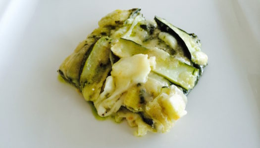ZUCCHINI WHITE PARMIGIANA WITH BASIL PESTO