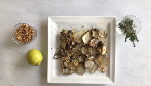 BAKED JERUSALEM ARTICHOKE WITH HAZELNUT AND THYME PESTO