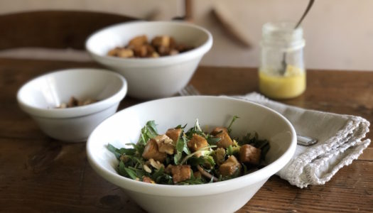 DANDELION, TEMPEH AND WALNUTS SALAD